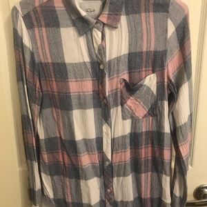 Flannel cotton long sleeve plaid pink blue